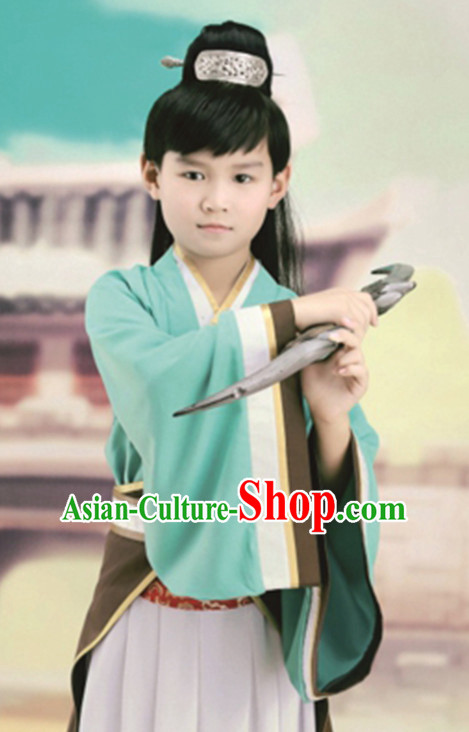 Ancient Chinese Swordsman Clothing and Hat Complete Set for Children Kids Boys