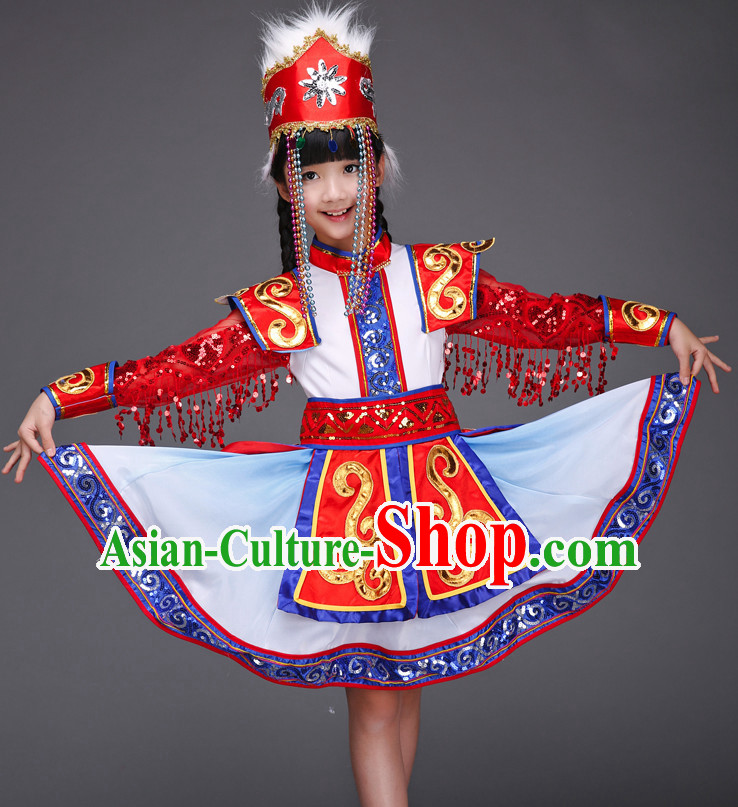 Ancient Chinese Dance Costume and Hat for Children Kids Girls