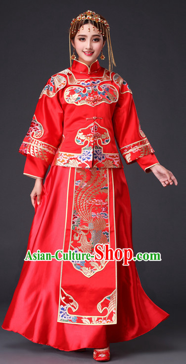 Traditional Chinese Red Wedding Dress for Brides