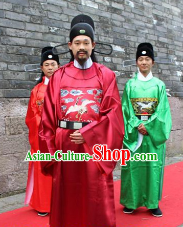 Asian Chinese Official Long Dresses Hanfu Costume Clothing Chinese Robe Chinese Kimono and Crown Complete Set for Men