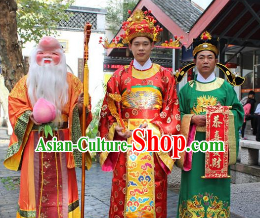 Asian Chinese Legend Fu Lu Shou Long Dresses Hanfu Costume Clothing Chinese Robe Chinese Kimono and Hat Complete Set for Men