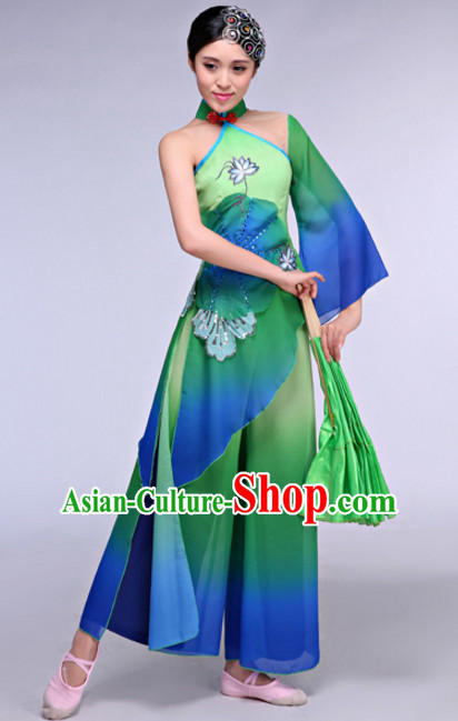 Asian Chinese Folk Dance Costumes Complete Set for Women