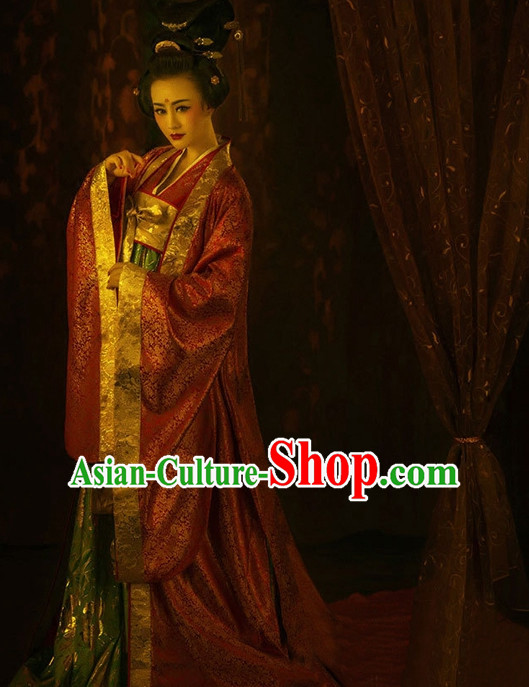 Asian Chinese Empress Princess Queen Hanfu Dress Costume Clothing Oriental Dress Chinese Robes Kimono and Hair Accessories Complete Set for Women Girls Adults Children