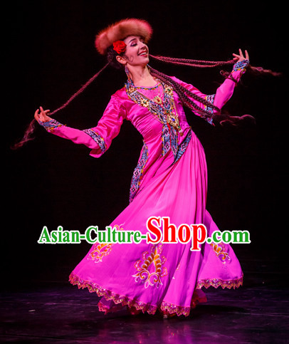 Chinese Traditional Xinjiang Dance Costumes Complete Set for Women or Gilrs