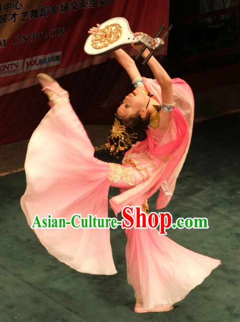 Chinese Traditional Classical Dance Costumes and Headdress Complete Set for Women or Gilrs