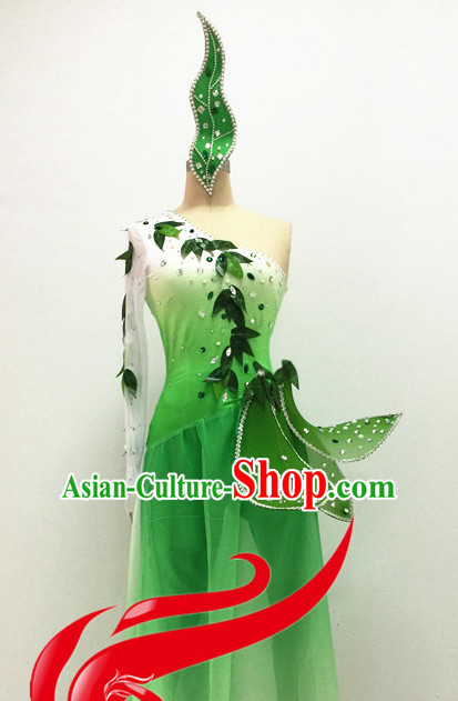 Chinese Folk Spring Dance Costumes and Hair Accessories Complete Set for Women