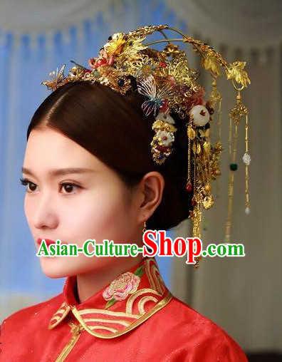 Handmade Classical Asian Chinese Wedding Hair Accessories Fascinators Hair Sticks Hairpins Hair Bows Hair Pieces Bridal Hair Clips