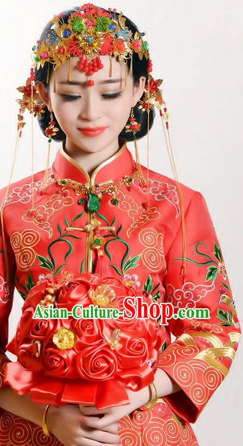 Handmade Asian Chinese Classical Wedding Hair Accessories Fascinators Hair Sticks Hairpins Hair Bows Hair Pieces Bridal Hair Clips Phoenix Crown