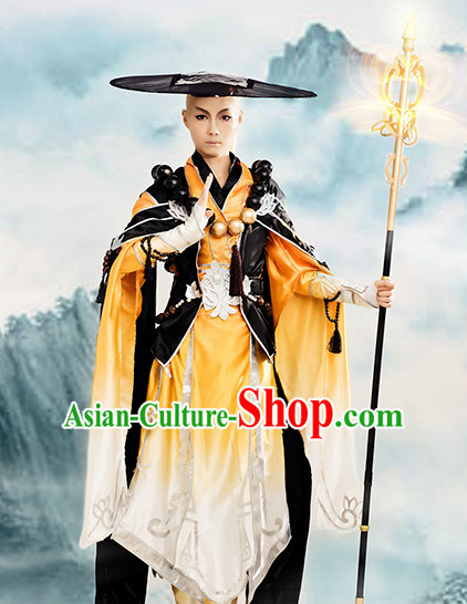 Chinese Monk Cosplay Costumes Accessories and Hat Complete Set for Kids Boys Children