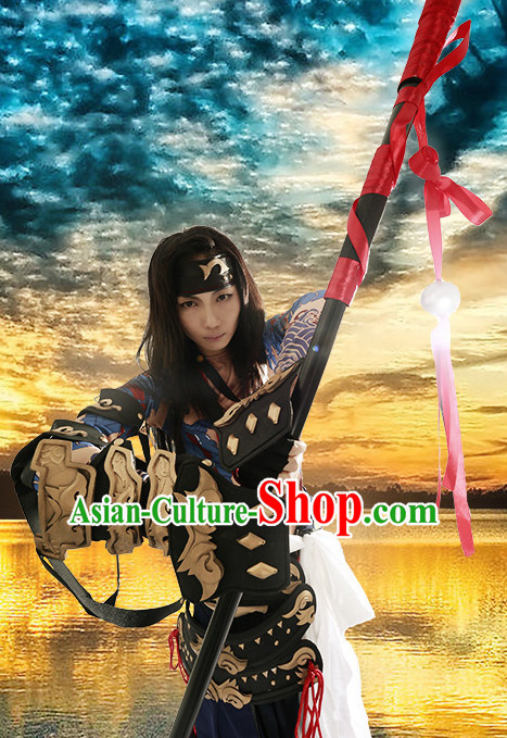 Chinese Superhero Beggar Group Cosplay Costumes Accessories and Hat Complete Set for Children