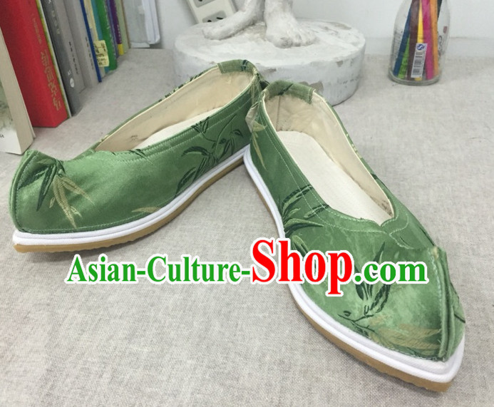 Handmade Chinese Ancient Bamboo Pattern Princess Bow Shoes for Women and Girls