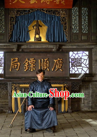 Chinese Kungfu Master Self Defense Movice Costumes Complete Set for Men