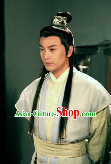 Chu Liuxiang Classic Hong Kong Cantonese Drama Black Long Wigs and Hair Accessory for Men