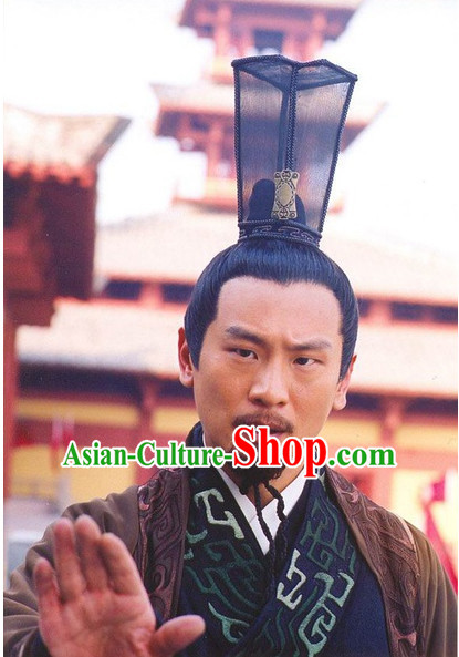 Han Dynasty Chinese Classic Type of Imperial Chancellor Black Wigs and Coronet for Men
