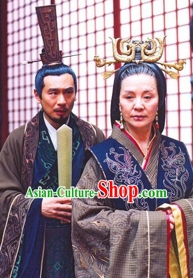 Han Dynasty Chinese Classic Type of Imperial Queen Black Wigs and Headdress for Women