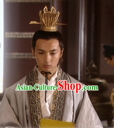 the Tang Dynasty Hairstyles Black Long Wigs and Prince Coronet for Men