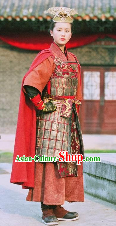 Asian Chinese Ancient Superheroine General Warrior Body Armor Costumes and Headgear Complete Set for Women and Girls