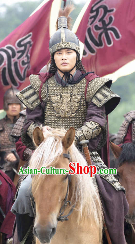 Asian Chinese Ancient Lamellar Body Armor Costumes Complete Set for Men or Boys