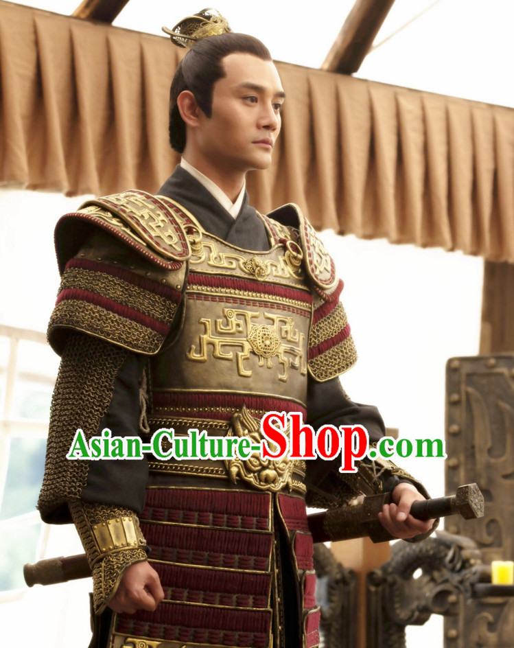 Asian Chinese Ancient Prince Lamellar Body Armor Costumes Complete Set for Men or Boys