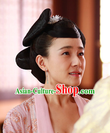 Ancient Chinese Imperial Beauties Princess BlackWigs and Hair Styling Accessories Gold Hair Clips