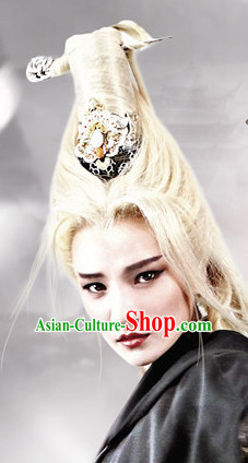 Ancient Chinese Beauties Moonlight Witch Female Long Black Wigs and Hair Styling Accessories Hair Clips Hairpins Jewelry
