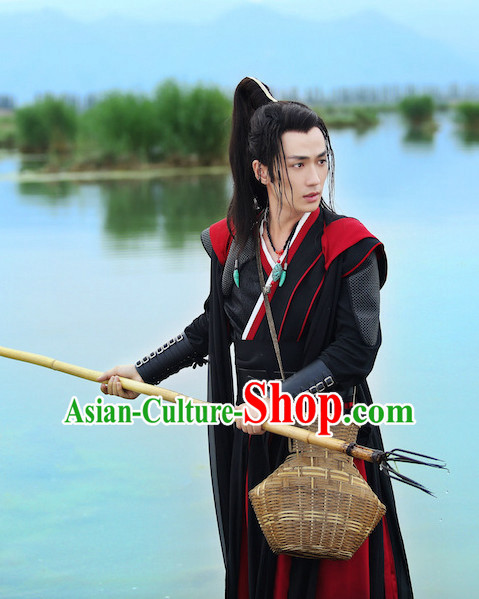 Ancient Chinese Traditional Kung Fu Master National Hanfu Dress Costumes Clothes Ancient China Clothing for Men or Boys