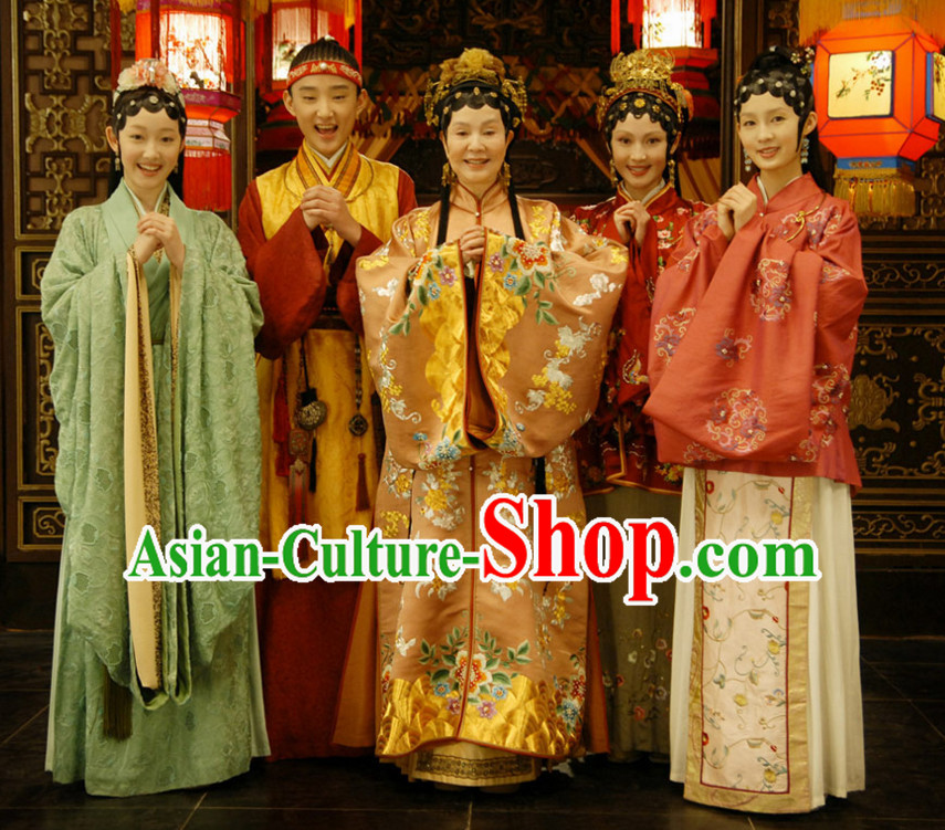 Hong Lou Meng Great Drama Ancient Chinese Traditional National Hanfu Dress Costumes Clothes Ancient China Clothing for Five People