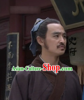 Ancient Chinese Male Black Long Wigs and Headbands for Men or Boys