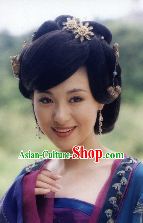 Tang Dynasty Ancient Traditional Chinese Style Lady Black Long Wig Wigs for Women Girls