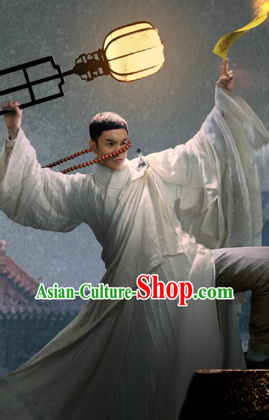 Wuxin The Monster Killer Drama Qing Dynasty Chinese Long Robe Dress Authentic Clothes Culture Costume Dresses Traditional National Dress Clothing and Headwear Complete Set