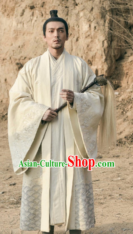 Ancient Chinese Taoist Long Robe Dress Authentic Clothes Culture Costume Dresses Traditional National Dress Clothing and Headwear Complete Set for Men