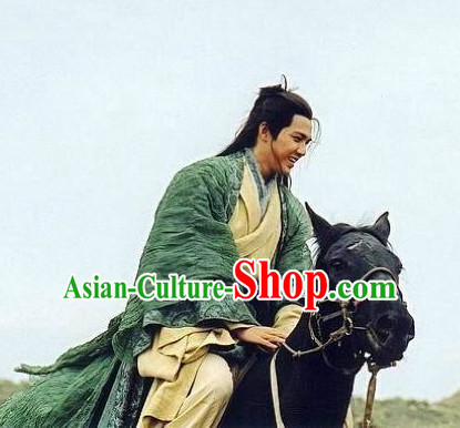 Ancient Chinese Style Hanfu Long Robe Dress Authentic Clothes Culture Costume Dresses Traditional National Dress Clothing and Headwear Complete Set for Men