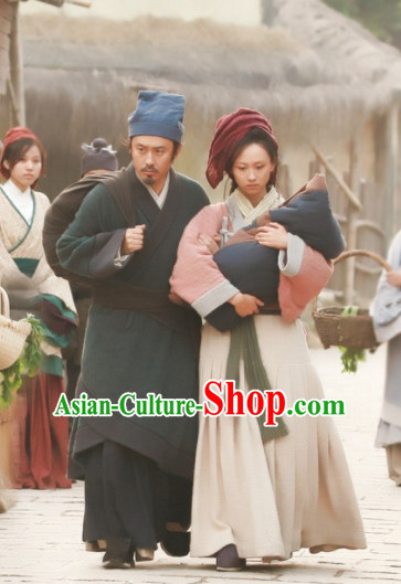 Chinese Female and Male Peasant Hanfu Dress Authentic Clothes Culture Costume Han Dresses Traditional National Dress Clothing and Headdress 2 Complete Sets