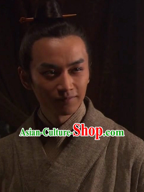 Ancient Chinese Han Dynasty Scholar Black Wig for Men