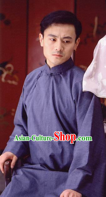 Chinese Traditional Long Mandarin Robe for Men