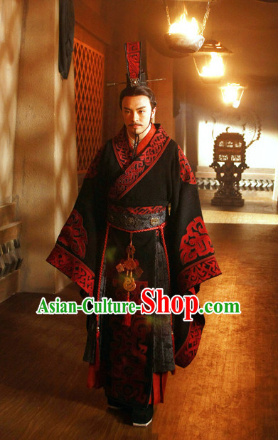 Ancient Chinese Style Emperor Dress Authentic Clothes Culture Costume Han Dresses Traditional National Dress Clothing and Headwear Complete Set for Men
