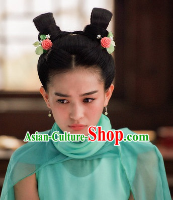 Ancient Chinese Traditional Style Cute Girl Black Wigs for Women Girls