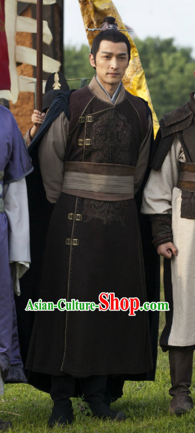 Ancient Chinese Style General Dress Authentic Clothes Culture Costume Han Dresses Traditional National Dress Clothing and Headdress Complete Set