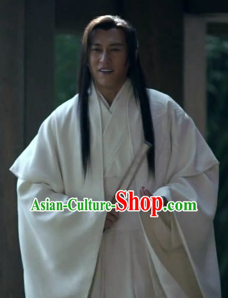 Ancient Chinese Style Wise Men Costume Dress Authentic Clothes Culture Han Dresses Traditional National Dress Clothing and Headdress Complete Set
