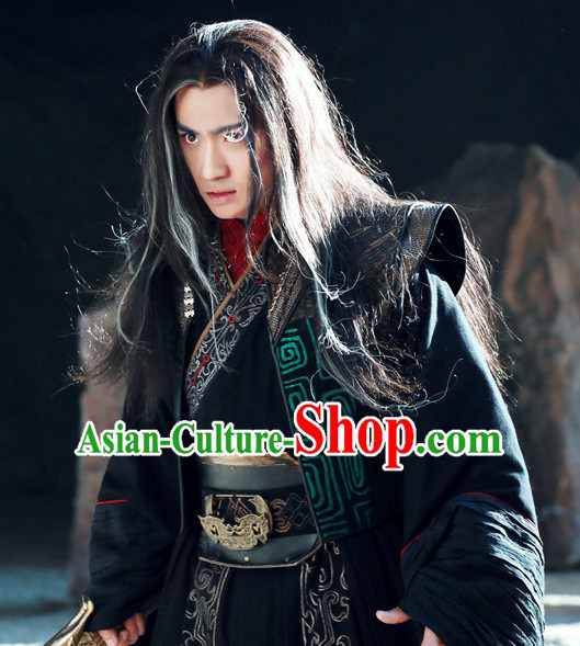 Ancient Chinese Style Warrior Costumes Dress Authentic Clothes Culture Han Dresses Traditional National Dress Clothing and Headdress Complete Set