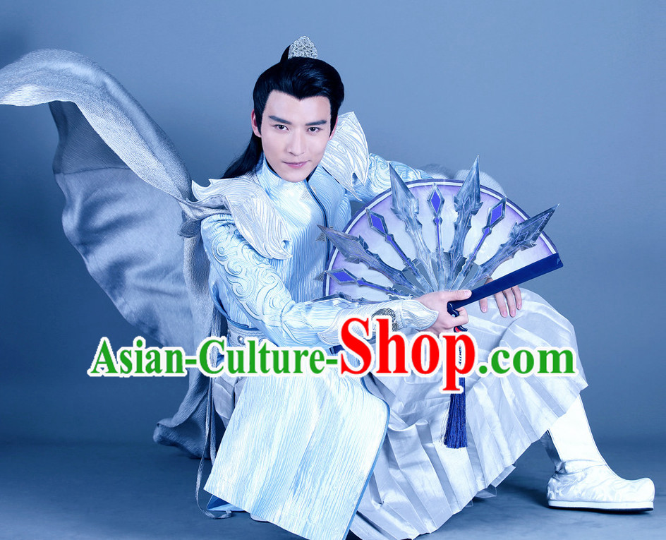Ancient Chinese Style Cavalier Costumes Dress Authentic Clothes Culture Han Dresses Traditional National Dress Clothing and Headdress Complete Set