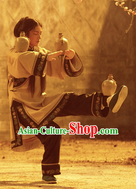 Ancient Chinese Style Kung Fu Master Costume Dress Authentic Clothes Culture Han Dresses Traditional National Dress Clothing Complete Set for Ladies