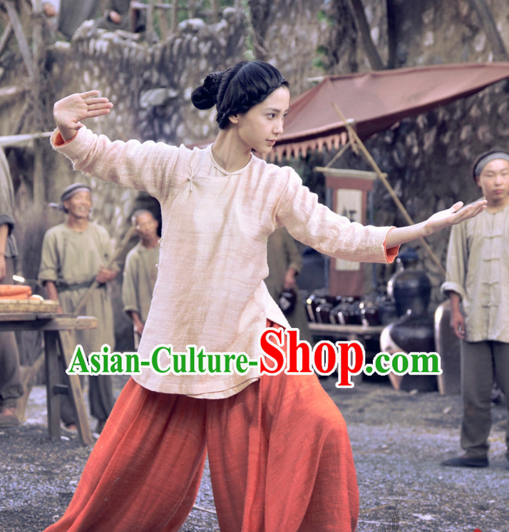 Ancient Chinese Style Kung Fu Costumes Dress Authentic Clothes Culture Han Dresses Traditional National Dress Clothing and Headpieces Complete Set