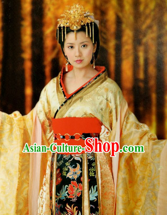 Ancient Chinese Style Princess Costumes Dress Authentic Clothes Culture Han Dresses Traditional National Dress Clothing and Headpieces Complete Set