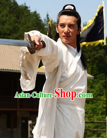Ancient Chinese Style Samurai Costumes Dress Authentic Clothes Culture Traditional National Clothing and Headpieces Complete Set for Old Men