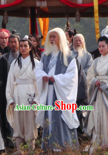 Ancient Chinese Style Kung Fu Masteri Costumes Dress Authentic Clothes Culture Traditional National Clothing Complete Set for Old Men