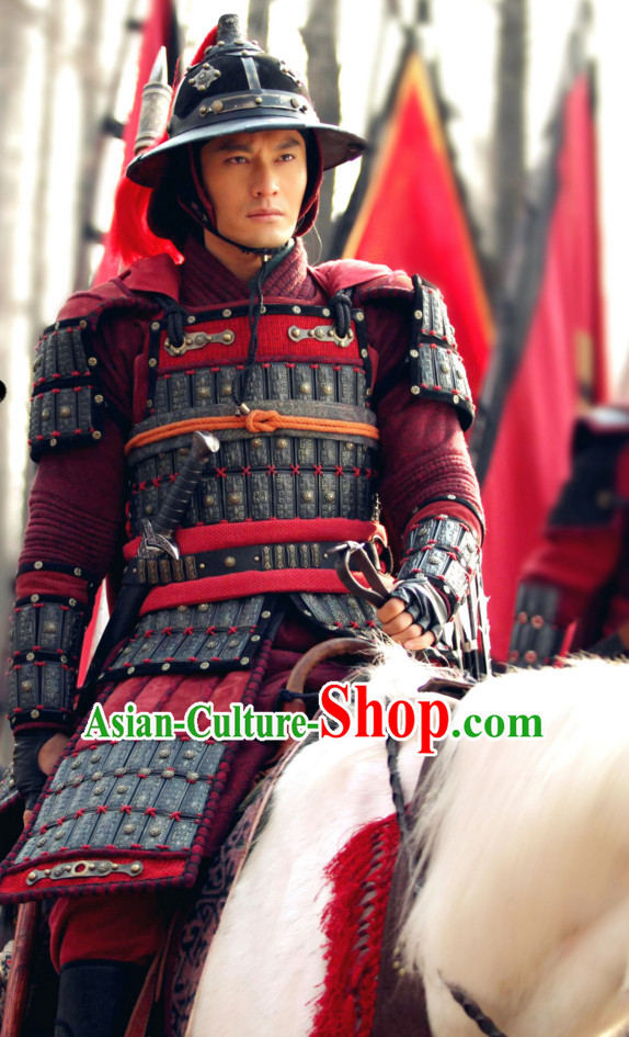 Ancient Chinese Style Samurai Zhao Yun Body Armor Costumes Dress Authentic Clothes Culture Traditional National Clothing Complete Set for Old Men