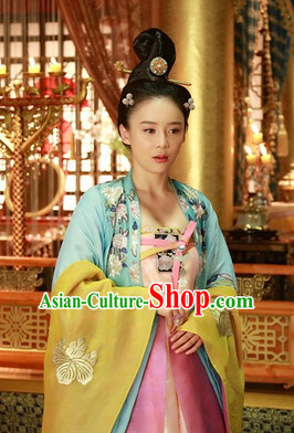 Ancient Chinese Style Palace Princess Black Long Wigs and Headgear