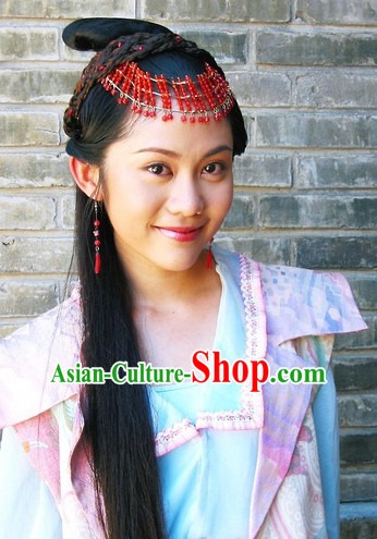 Ancient Chinese Style Fairy Black Long Wigs and Headwear Set