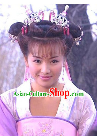 Traditional Chinese Style Fairy Black Wigs and Headwear Set